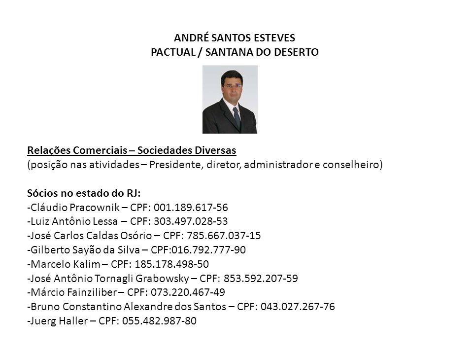ANDRÉ SANTOS ESTEVES PACTUAL / SANTANA DO DESERTO Relações Comerciais – Sociedades Diversas (posição nas atividades – Presidente, diretor, administrad