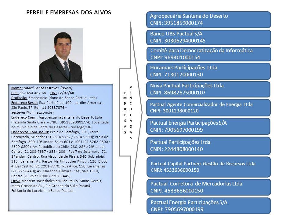 Agropecuária Santana do Deserto CNPJ: 3951859000174 Banco UBS Pactual S/A CNPJ: 30306294000145 Comitê para Democratização da Informática CNPJ: 9694010