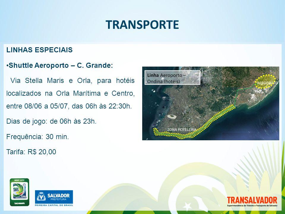 | TRANSPORTE LINHAS ESPECIAIS NOS DIAS DE JOGO - PORTADORES DE INGRESSO Shuttle Aeroporto - Arena F.