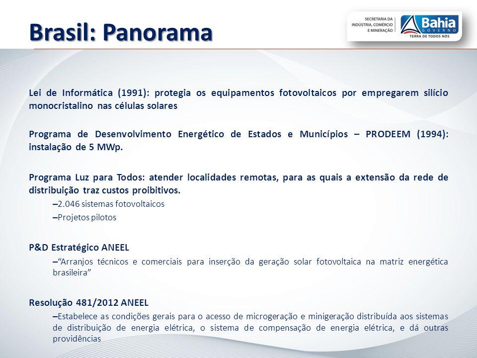Lei de Informática (1991): protegia os equipamentos fotovoltaicos por empregarem silício monocristalino nas células solares Programa de Desenvolviment