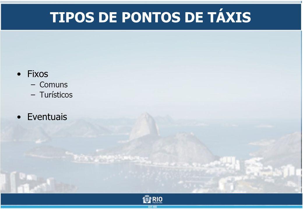 TIPOS DE PONTOS DE TÁXIS Fixos –Comuns –Turísticos Eventuais