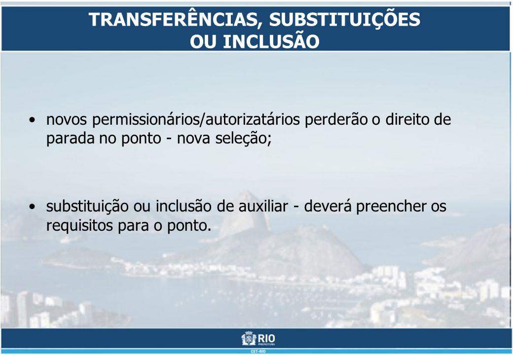 TRANSFERÊNCIAS, SUBSTITUIÇÕES OU INCLUSÃO novos permissionários/autorizatários perderão o direito de parada no ponto - nova seleção; substituição ou inclusão de auxiliar - deverá preencher os requisitos para o ponto.