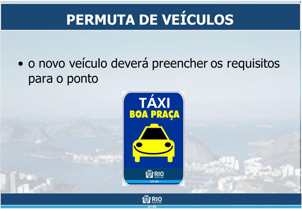 PERMUTA DE VEÍCULOS o novo veículo deverá preencher os requisitos para o ponto