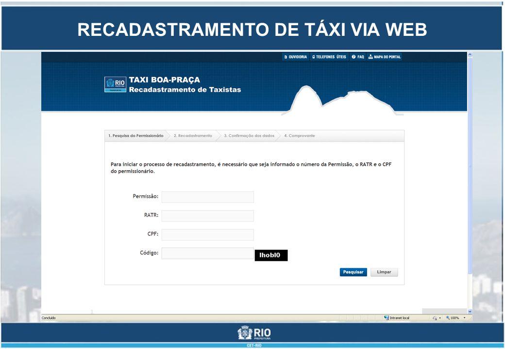 RECADASTRAMENTO DE TÁXI VIA WEB