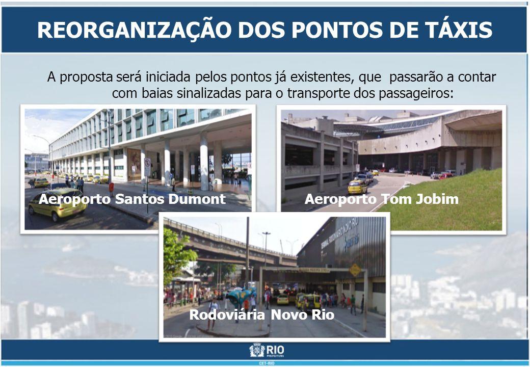 A proposta será iniciada pelos pontos já existentes, que passarão a contar com baias sinalizadas para o transporte dos passageiros: REORGANIZAÇÃO DOS PONTOS DE TÁXIS Aeroporto Tom JobimAeroporto Santos Dumont Rodoviária Novo Rio