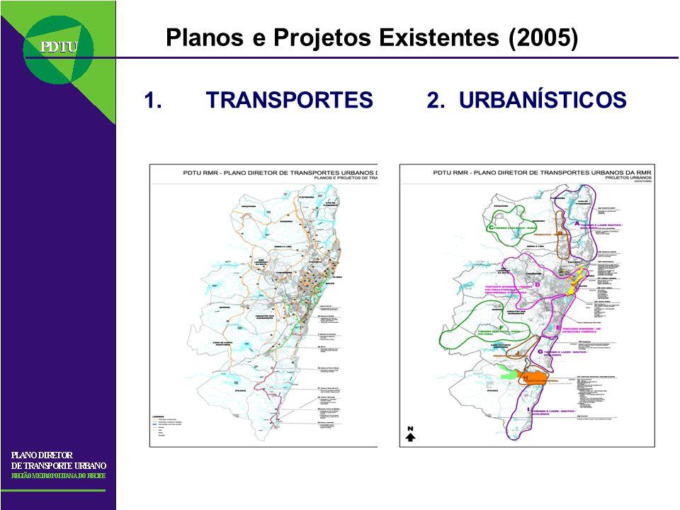 Planos e Projetos Existentes (2005) 1.TRANSPORTES 2. URBANÍSTICOS