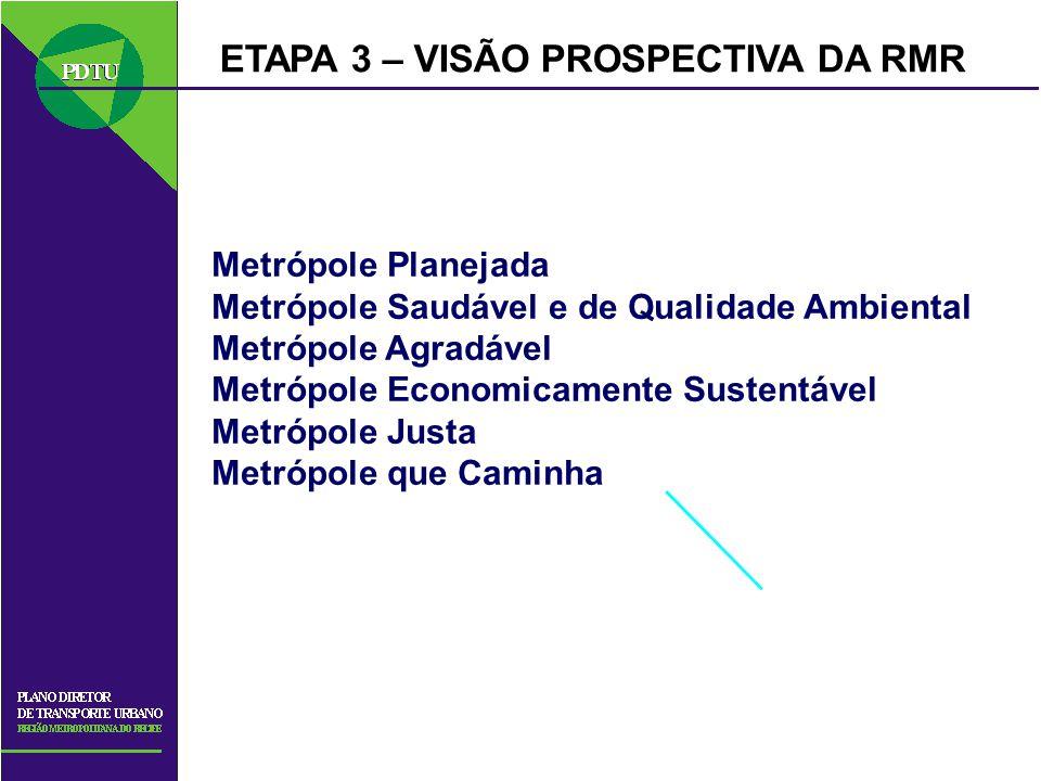 ETAPA 3 – VISÃO PROSPECTIVA DA RMR Metrópole Planejada Metrópole Saudável e de Qualidade Ambiental Metrópole Agradável Metrópole Economicamente Susten