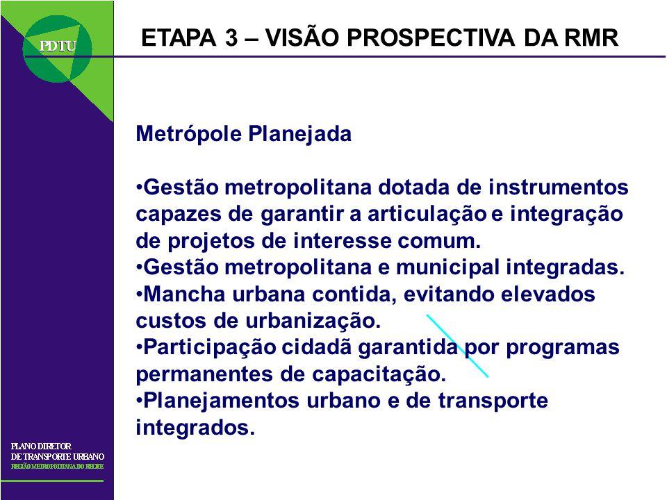 ETAPA 3 – VISÃO PROSPECTIVA DA RMR Metrópole Planejada Gestão metropolitana dotada de instrumentos capazes de garantir a articulação e integração de p