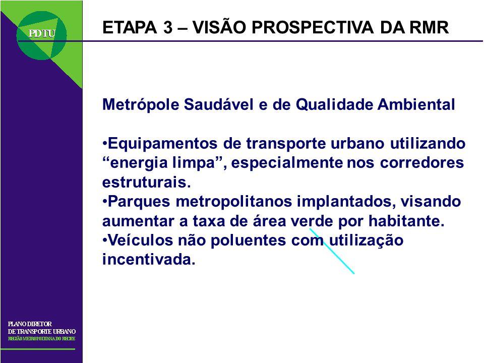 ETAPA 3 – VISÃO PROSPECTIVA DA RMR Metrópole Saudável e de Qualidade Ambiental Equipamentos de transporte urbano utilizando energia limpa, especialmen