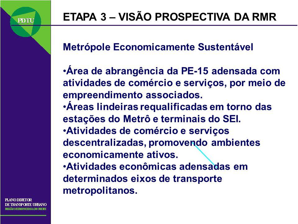 ETAPA 3 – VISÃO PROSPECTIVA DA RMR Metrópole Economicamente Sustentável Área de abrangência da PE-15 adensada com atividades de comércio e serviços, p