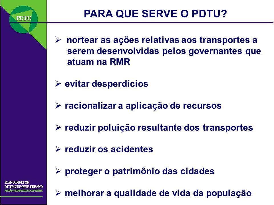 PARA QUE SERVE O PDTU? nortear as ações relativas aos transportes a serem desenvolvidas pelos governantes que atuam na RMR evitar desperdícios raciona
