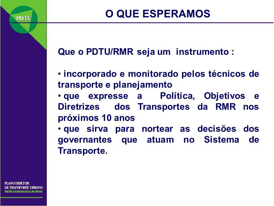 O QUE ESPERAMOS Que o PDTU/RMR seja um instrumento : incorporado e monitorado pelos técnicos de transporte e planejamento que expresse a Política, Obj