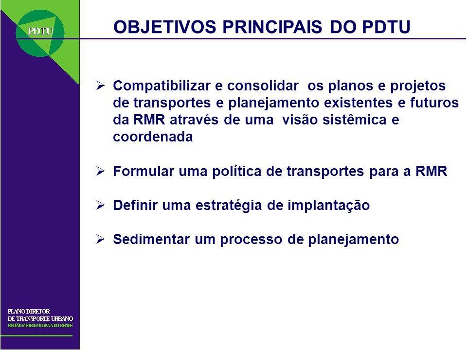Compatibilizar e consolidar os planos e projetos de transportes e planejamento existentes e futuros da RMR através de uma visão sistêmica e coordenada