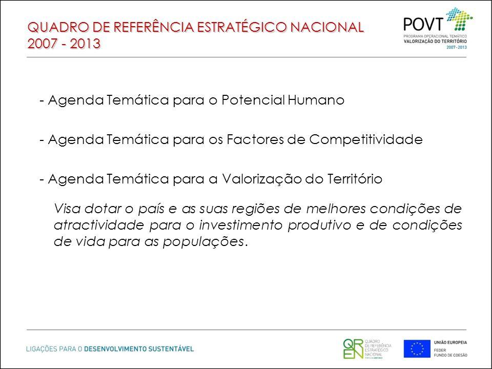 QUADRO DE REFERÊNCIA ESTRATÉGICO NACIONAL 2007 - 2013 - Agenda Temática para o Potencial Humano - Agenda Temática para os Factores de Competitividade