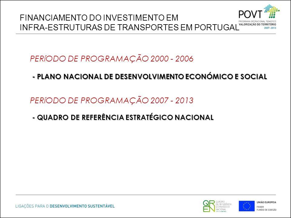 FINANCIAMENTO DO INVESTIMENTO EM INFRA-ESTRUTURAS DE TRANSPORTES EM PORTUGAL - PLANO NACIONAL DE DESENVOLVIMENTO ECONÓMICO E SOCIAL - PLANO NACIONAL D