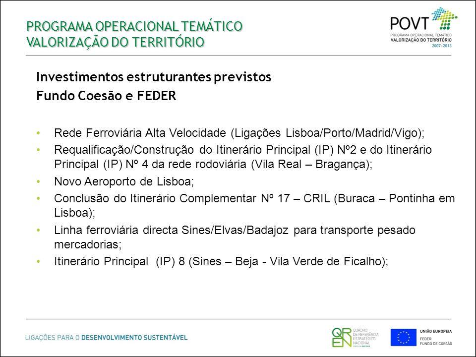 PROGRAMA OPERACIONAL TEMÁTICO VALORIZAÇÃO DO TERRITÓRIO Investimentos estruturantes previstos Fundo Coesão e FEDER Rede Ferroviária Alta Velocidade (L