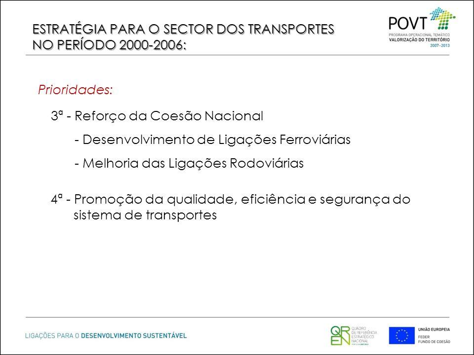 3ª - Reforço da Coesão Nacional - Desenvolvimento de Ligações Ferroviárias - Melhoria das Ligações Rodoviárias 4ª - Promoção da qualidade, eficiência