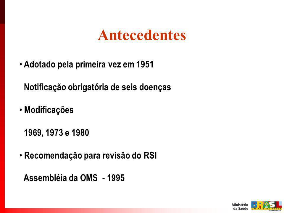 Antecedentes Adotado pela primeira vez em 1951 Notificação obrigatória de seis doenças Modificações 1969, 1973 e 1980 Recomendação para revisão do RSI