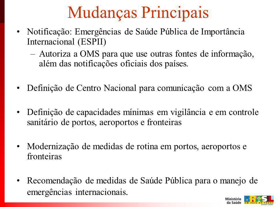 Mudanças Principais Notificação: Emergências de Saúde Pública de Importância Internacional (ESPII) –Autoriza a OMS para que use outras fontes de infor