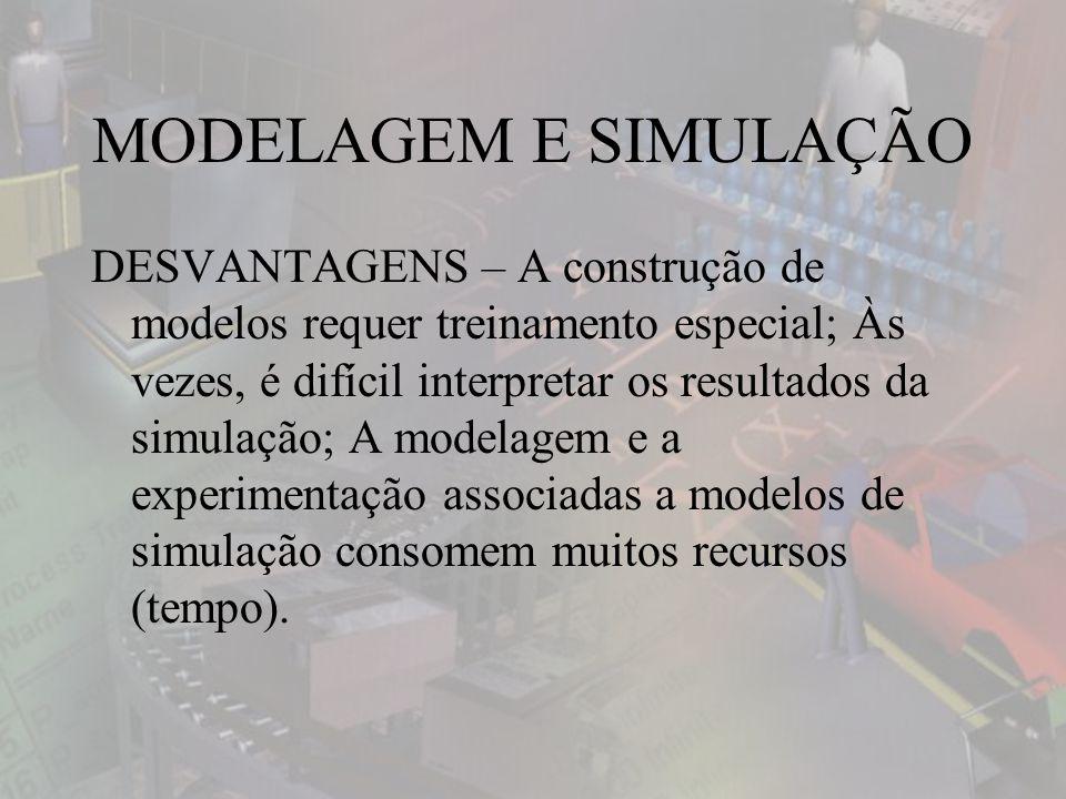 MODELAGEM E SIMULAÇÃO DESVANTAGENS – A construção de modelos requer treinamento especial; Às vezes, é difícil interpretar os resultados da simulação; A modelagem e a experimentação associadas a modelos de simulação consomem muitos recursos (tempo).