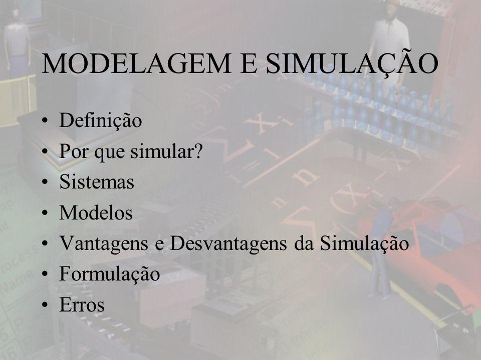 MODELAGEM E SIMULAÇÃO Definição Por que simular.