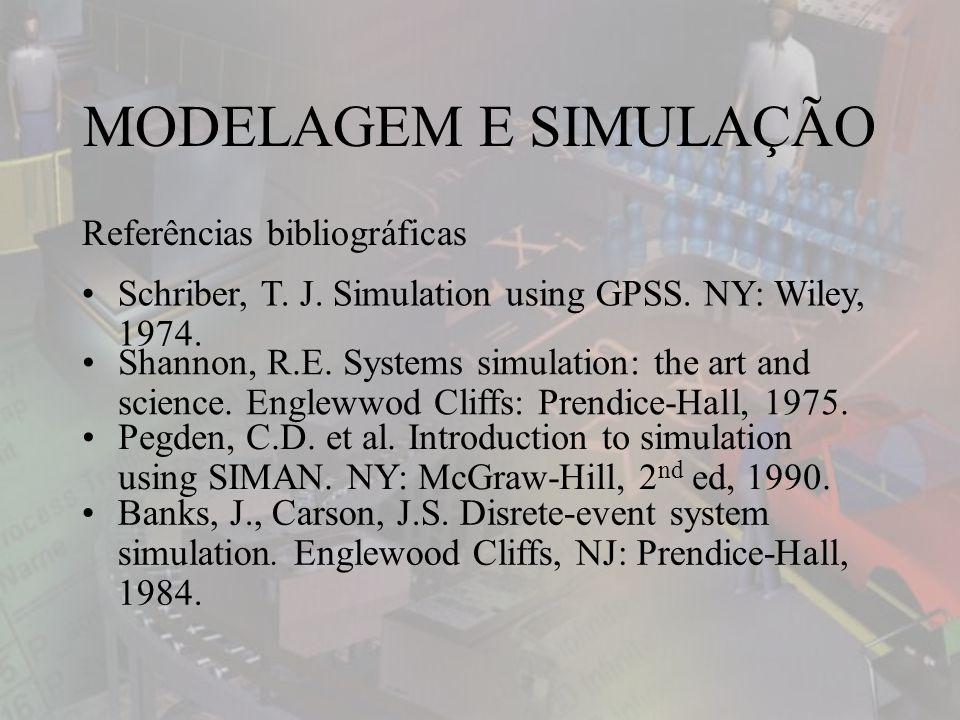 Referências bibliográficas MODELAGEM E SIMULAÇÃO Schriber, T.