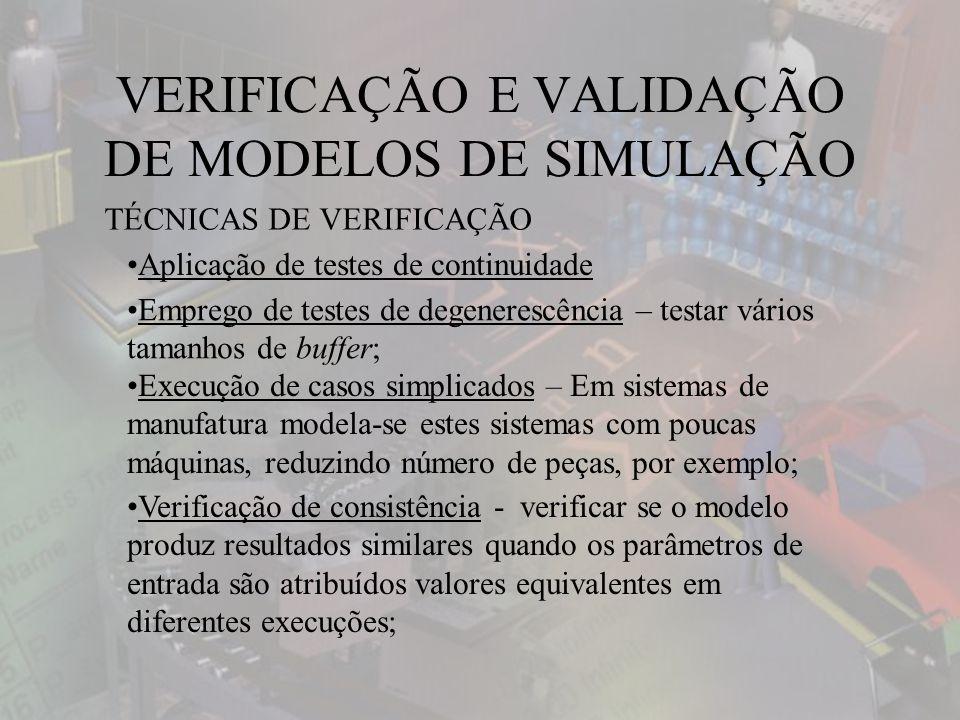 VERIFICAÇÃO E VALIDAÇÃO DE MODELOS DE SIMULAÇÃO TÉCNICAS DE VERIFICAÇÃO Aplicação de testes de continuidade Emprego de testes de degenerescência – testar vários tamanhos de buffer; Execução de casos simplicados – Em sistemas de manufatura modela-se estes sistemas com poucas máquinas, reduzindo número de peças, por exemplo; Verificação de consistência - verificar se o modelo produz resultados similares quando os parâmetros de entrada são atribuídos valores equivalentes em diferentes execuções;