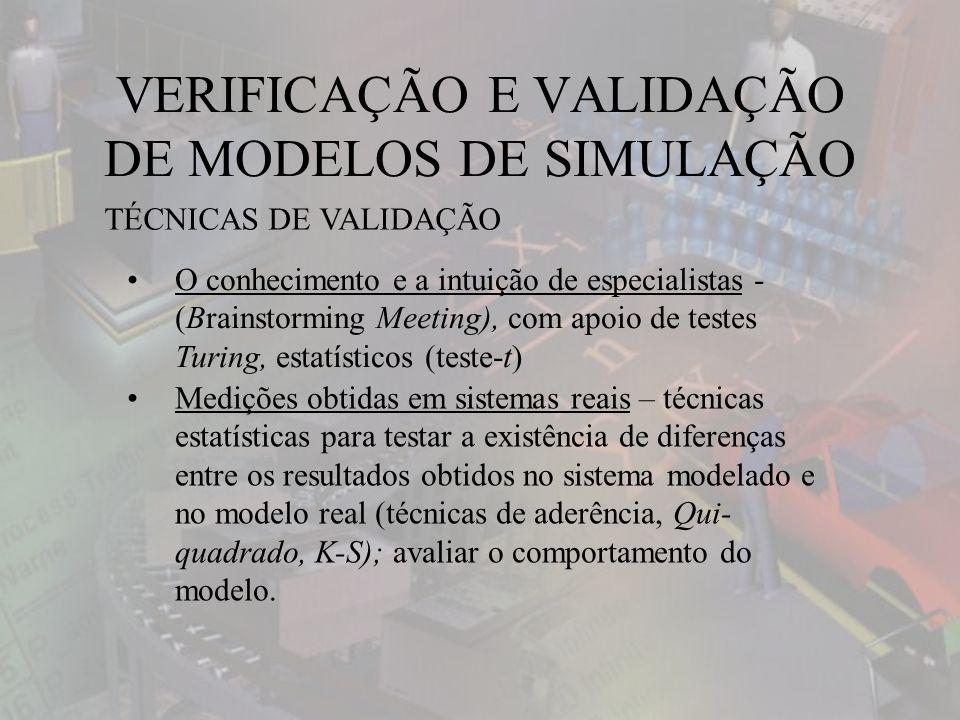 VERIFICAÇÃO E VALIDAÇÃO DE MODELOS DE SIMULAÇÃO TÉCNICAS DE VALIDAÇÃO O conhecimento e a intuição de especialistas - (Brainstorming Meeting), com apoio de testes Turing, estatísticos (teste-t) Medições obtidas em sistemas reais – técnicas estatísticas para testar a existência de diferenças entre os resultados obtidos no sistema modelado e no modelo real (técnicas de aderência, Qui- quadrado, K-S); avaliar o comportamento do modelo.
