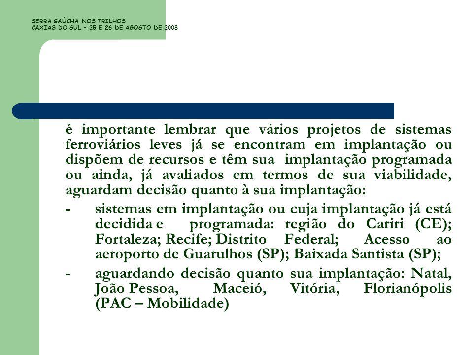 SERRA GAÚCHA NOS TRILHOS CAXIAS DO SUL – 25 E 26 DE AGOSTO DE 2008 é importante lembrar que vários projetos de sistemas ferroviários leves já se encon