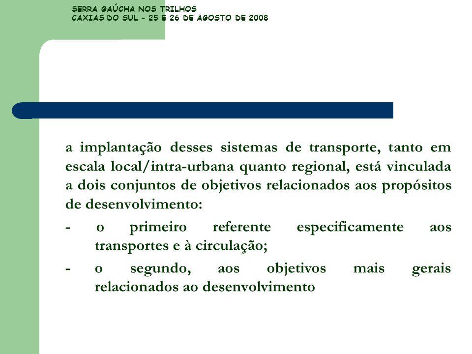 SERRA GAÚCHA NOS TRILHOS CAXIAS DO SUL – 25 E 26 DE AGOSTO DE 2008 a implantação desses sistemas de transporte, tanto em escala local/intra-urbana qua
