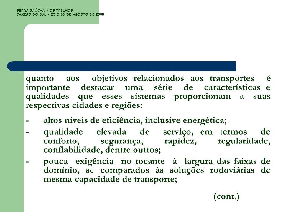 SERRA GAÚCHA NOS TRILHOS CAXIAS DO SUL – 25 E 26 DE AGOSTO DE 2008 quanto aos objetivos relacionados aos transportes é importante destacar uma série d