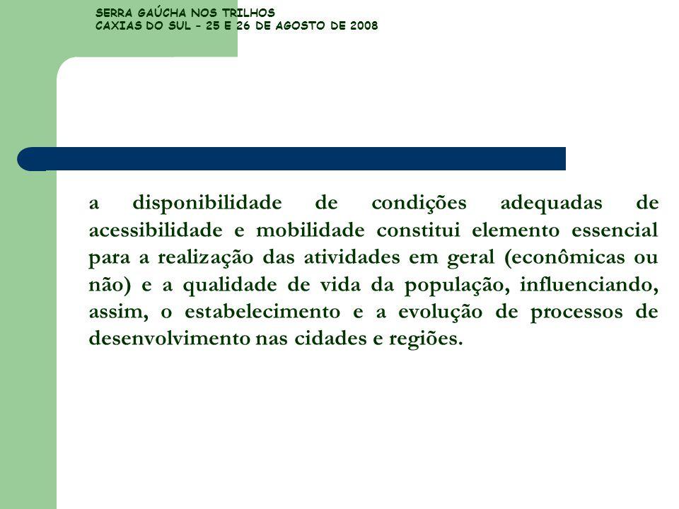 SERRA GAÚCHA NOS TRILHOS CAXIAS DO SUL – 25 E 26 DE AGOSTO DE 2008 a disponibilidade de condições adequadas de acessibilidade e mobilidade constitui e