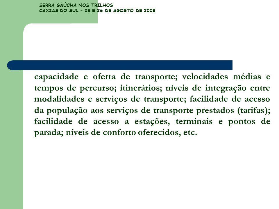 SERRA GAÚCHA NOS TRILHOS CAXIAS DO SUL – 25 E 26 DE AGOSTO DE 2008 capacidade e oferta de transporte; velocidades médias e tempos de percurso; itinerá