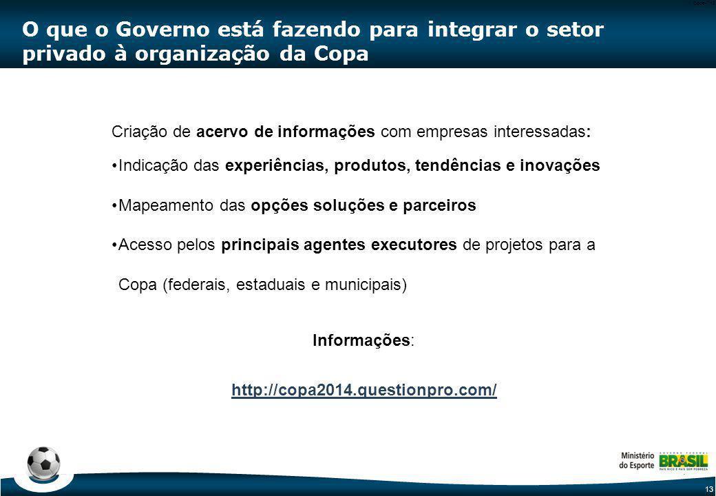 13 Code-P13 O que o Governo está fazendo para integrar o setor privado à organização da Copa Criação de acervo de informações com empresas interessada