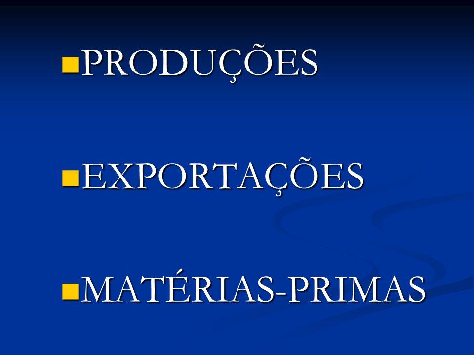 PRODUÇÕES PRODUÇÕES EXPORTAÇÕES EXPORTAÇÕES MATÉRIAS-PRIMAS MATÉRIAS-PRIMAS