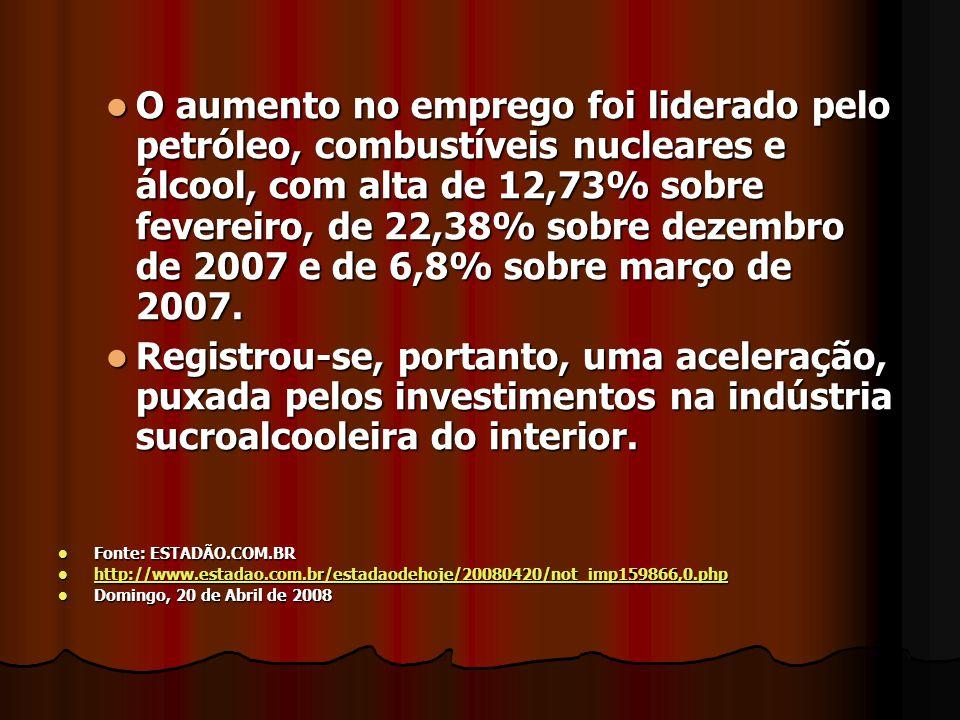 Na região de Araçatuba, novas usinas estão sendo construídas, e o emprego no setor sucroalcooleiro cresceu 23,81% em abril e a região ocupou o segundo lugar entre as que mais ofereceram vagas na indústria, abaixo apenas de Sertãozinho- SP Na região de Araçatuba, novas usinas estão sendo construídas, e o emprego no setor sucroalcooleiro cresceu 23,81% em abril e a região ocupou o segundo lugar entre as que mais ofereceram vagas na indústria, abaixo apenas de Sertãozinho- SP Fonte: ESTADÃO.COM.BR Fonte: ESTADÃO.COM.BR http://www.estadao.com.br/estadaodehoje/20080420/not_imp159866,0.php http://www.estadao.com.br/estadaodehoje/20080420/not_imp159866,0.php http://www.estadao.com.br/estadaodehoje/20080420/not_imp159866,0.php Domingo, 20 de Abril de 2008 Domingo, 20 de Abril de 2008