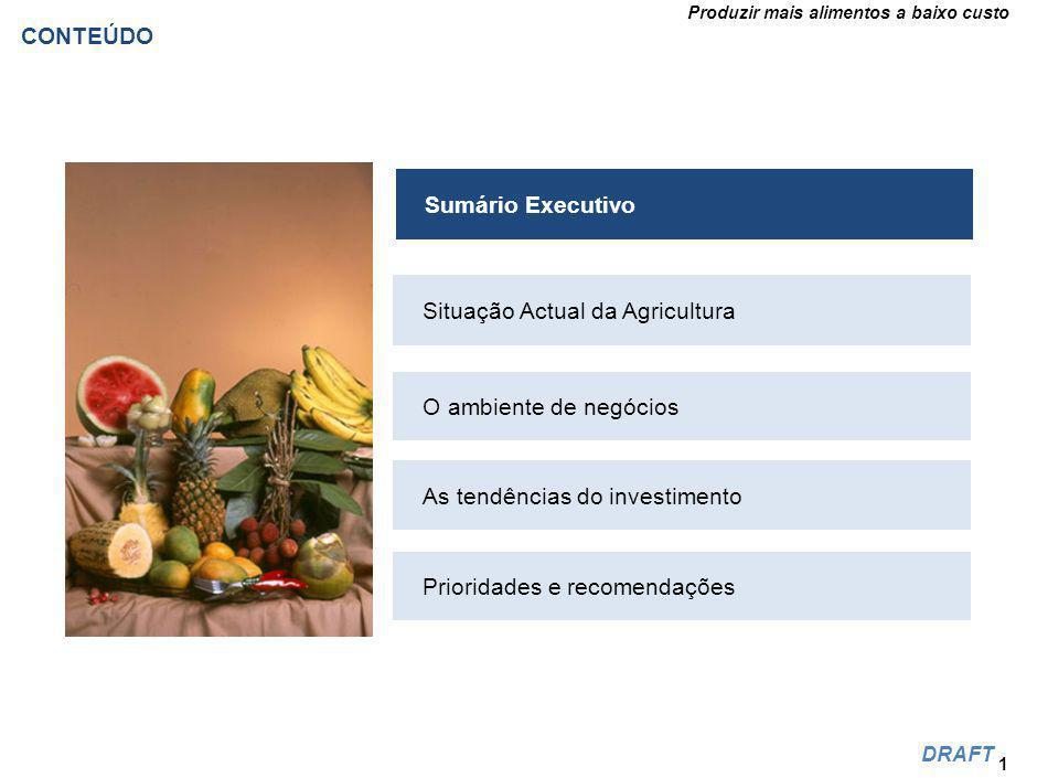 Produzir mais alimentos a baixo custo DRAFT Comparação de alguns custos entre Moçambique e África do sul 42 Inputs de produção Mz custos RAS custos Água ($/m)$0 Electricidade ($/kWh)$0.10$0.21 Diesel ($/l)$0.82$0.63 Fertilizantes ($/t)$29$18 Salários ($/mês)* $53$137 Transporte de Viatura ($/t)$0.05$0.04 Manuseamento de portos ($/palete)**$42$41 Frete de navio ($/40 pés.