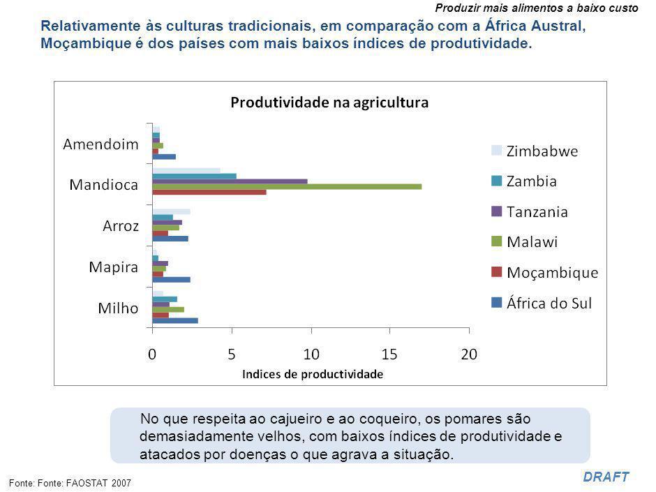 Produzir mais alimentos a baixo custo DRAFT Relativamente às culturas tradicionais, em comparação com a África Austral, Moçambique é dos países com mais baixos índices de produtividade.