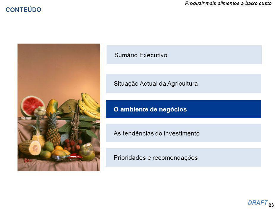 Produzir mais alimentos a baixo custo DRAFT CONTEÚDO 23 Situação Actual da Agricultura O ambiente de negócios As tendências do investimento Prioridades e recomendações Sumário Executivo