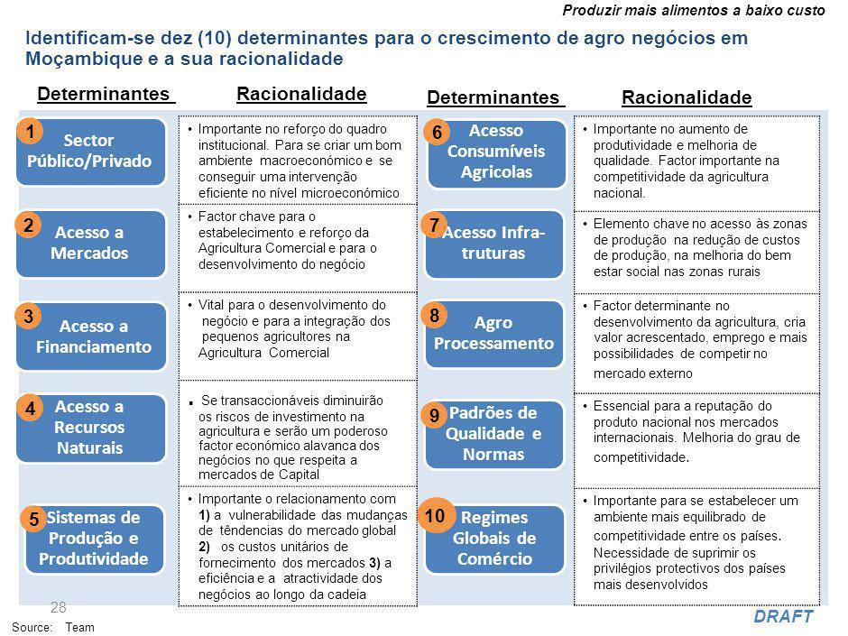 Produzir mais alimentos a baixo custo DRAFT Identificam-se dez (10) determinantes para o crescimento de agro negócios em Moçambique e a sua racionalidade 28 Determinantes Source: Team Acesso a Mercados 2 Acesso a Financiamento 3 Sector Público/Privado 1 Sistemas de Produção e Produtividade 5 Acesso Consumíveis Agricolas 6 Acesso a Recursos Naturais 4 Acesso Infra- truturas 7 Padrões de Qualidade e Normas 9 Agro Processamento 8 Regimes Globais de Comércio 10 Importante no reforço do quadro institucional.