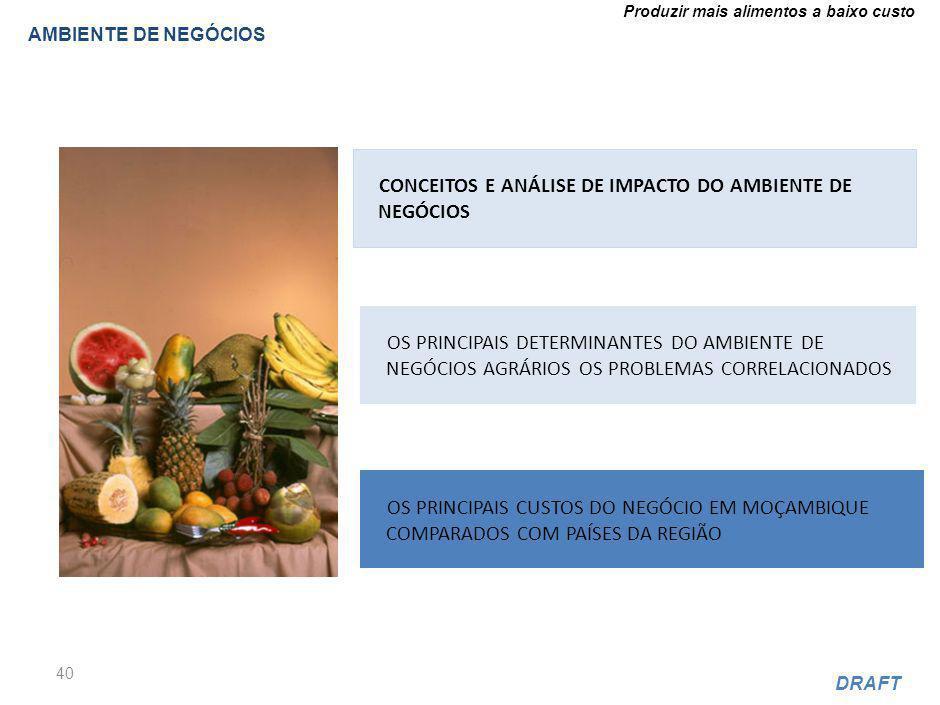 Produzir mais alimentos a baixo custo DRAFT AMBIENTE DE NEGÓCIOS 40 CONCEITOS E ANÁLISE DE IMPACTO DO AMBIENTE DE NEGÓCIOS OS PRINCIPAIS DETERMINANTES DO AMBIENTE DE NEGÓCIOS AGRÁRIOS OS PROBLEMAS CORRELACIONADOS OS PRINCIPAIS CUSTOS DO NEGÓCIO EM MOÇAMBIQUE COMPARADOS COM PAÍSES DA REGIÃO
