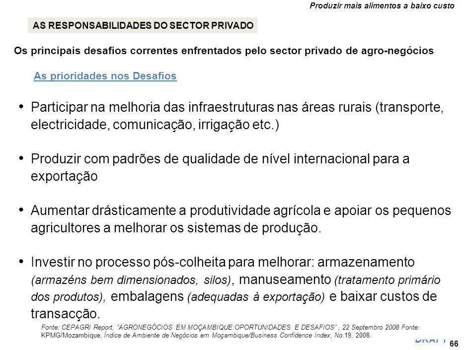 Produzir mais alimentos a baixo custo DRAFT Os principais desafios correntes enfrentados pelo sector privado de agro-negócios Participar na melhoria das infraestruturas nas áreas rurais (transporte, electricidade, comunicação, irrigação etc.) Produzir com padrões de qualidade de nível internacional para a exportação Aumentar drásticamente a produtividade agrícola e apoiar os pequenos agricultores a melhorar os sistemas de produção.