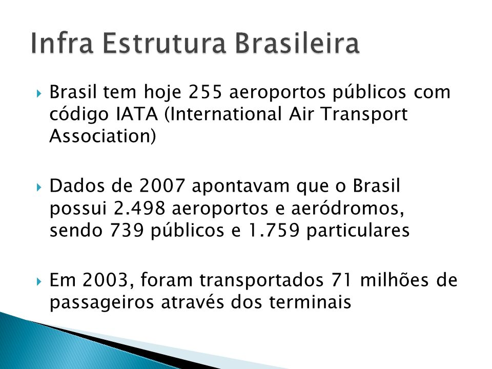 Brasil tem hoje 255 aeroportos públicos com código IATA (International Air Transport Association) Dados de 2007 apontavam que o Brasil possui 2.498 ae