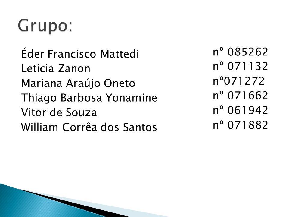Éder Francisco Mattedi Leticia Zanon Mariana Araújo Oneto Thiago Barbosa Yonamine Vitor de Souza William Corrêa dos Santos nº 085262 nº 071132 nº07127