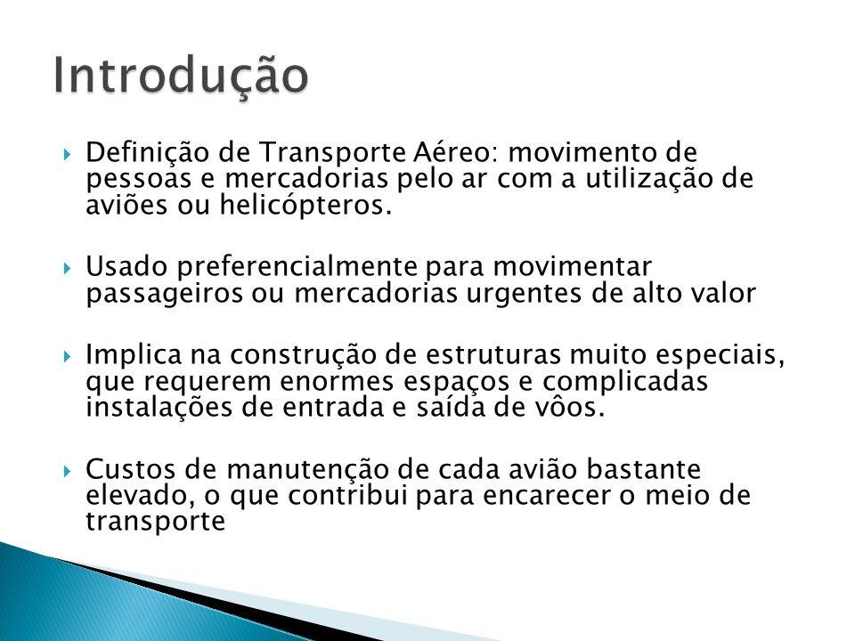 Definição de Transporte Aéreo: movimento de pessoas e mercadorias pelo ar com a utilização de aviões ou helicópteros. Usado preferencialmente para mov