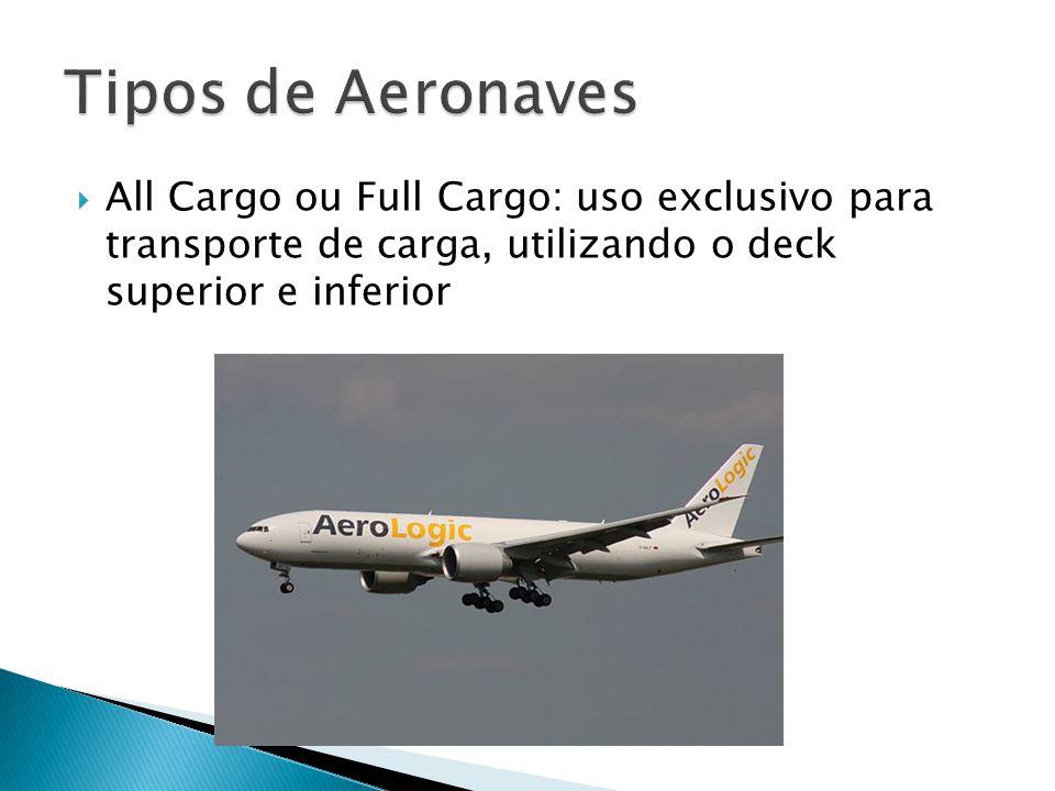 All Cargo ou Full Cargo: uso exclusivo para transporte de carga, utilizando o deck superior e inferior