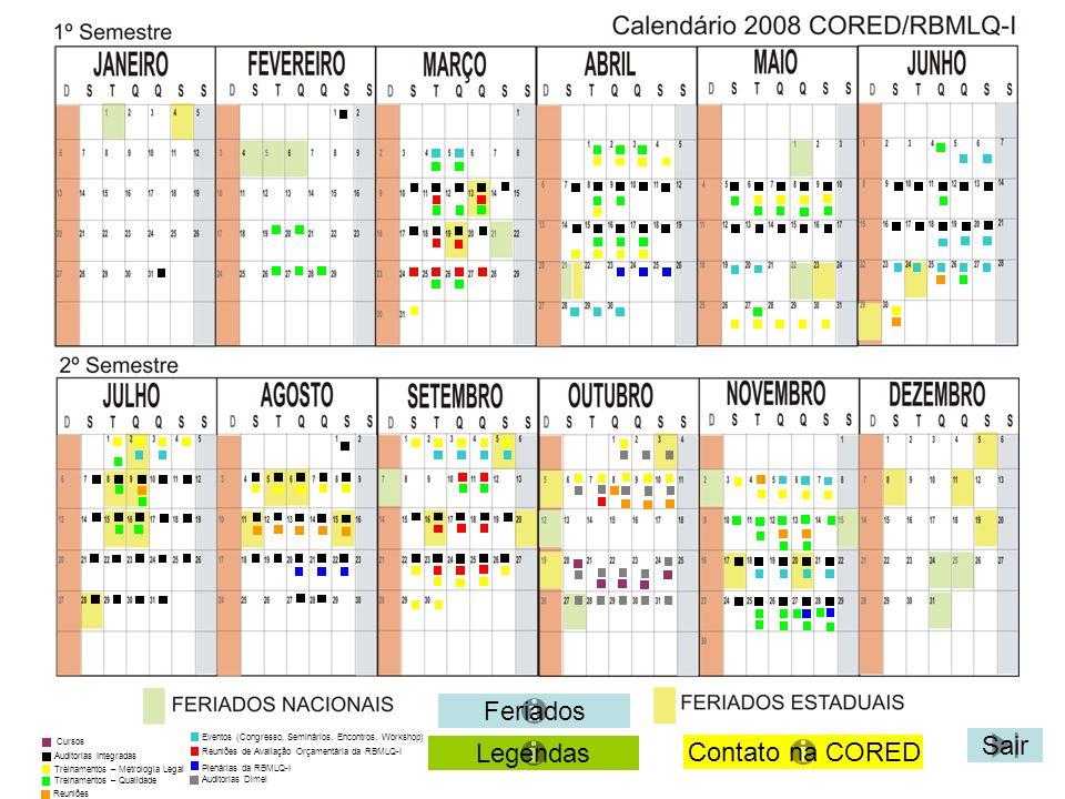Feriados Sair Legendas Contato na CORED Eventos (Congresso, Seminários, Encontros, Workshop) Auditorias Integradas Treinamentos – Metrologia Legal Tre