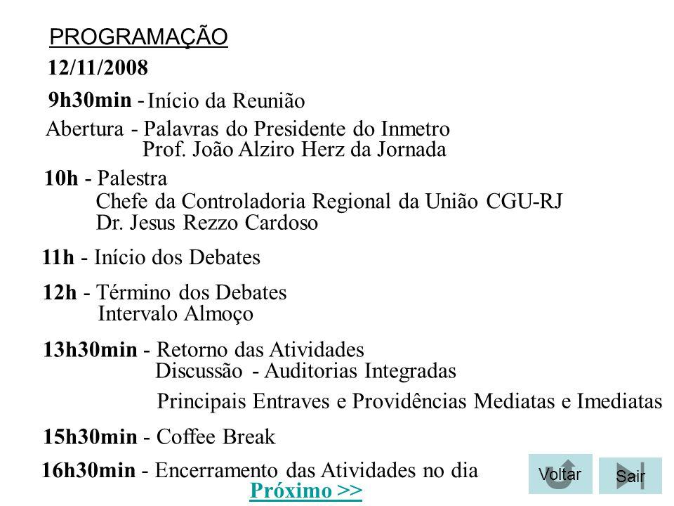 PROGRAMAÇÃO 12/11/2008 Início da Reunião 9h30min - Abertura - Palavras do Presidente do Inmetro Prof. João Alziro Herz da Jornada 10h - Palestra Dr. J