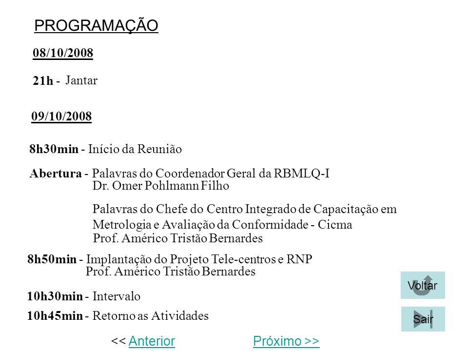 PROGRAMAÇÃO 08/10/2008 Jantar 21h - 8h30min - Início da Reunião Abertura - Palavras do Coordenador Geral da RBMLQ-I 09/10/2008 Dr. Omer Pohlmann Filho
