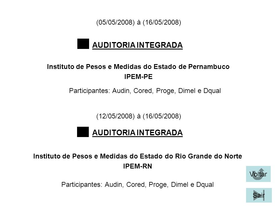Participantes: Audin, Cored, Proge, Dimel e Dqual AUDITORIA INTEGRADA Voltar Instituto de Pesos e Medidas do Estado de Pernambuco IPEM-PE Sair Institu